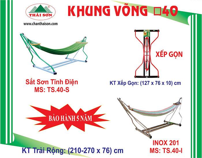 Võng Xếp Chấn Thái Sơn Khung Vuông 40 (Sắt Sơn Tĩnh Điện)