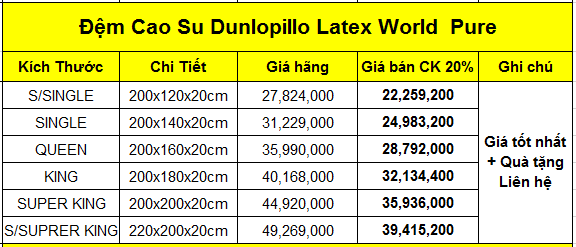 Đệm cao su Dunlopillo Late World Pure