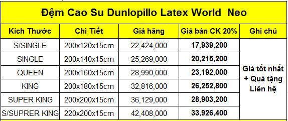 Đệm cao su Dunlopillo Latex World Leo
