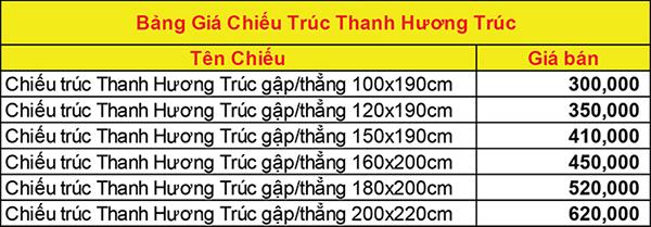 Bảng giá CHIẾU TRÚC THANH HƯƠNG TRÚC