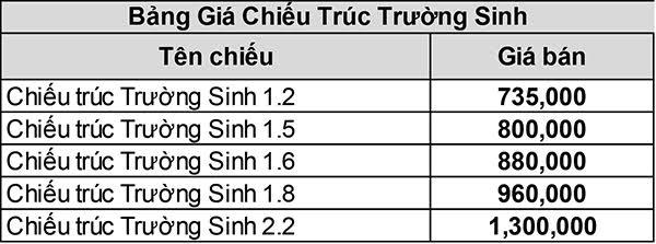CHIẾU TRÚC TRƯỜNG SINH