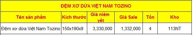 Bảng giá Đệm xơ dừa Việt Nam Tozino