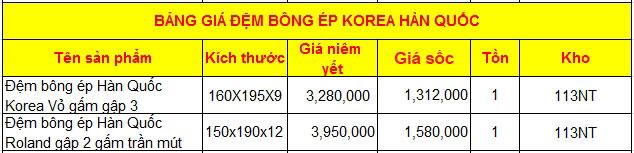 Bảng giá Đệm bông ép Korea Hàn Quốc