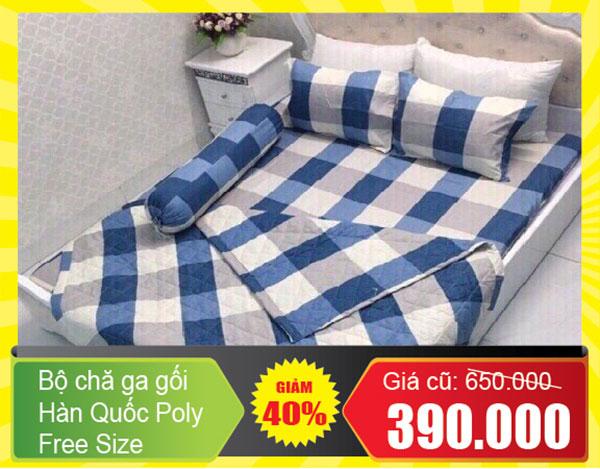 Bộ chăn ga Hàn Quốc Poly 200x220