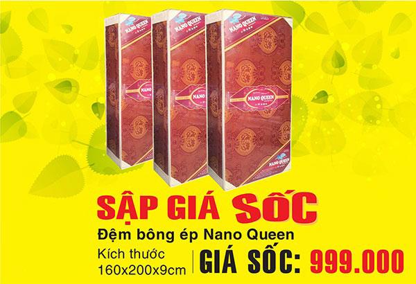 đệm bông ép nano queen giảm giá