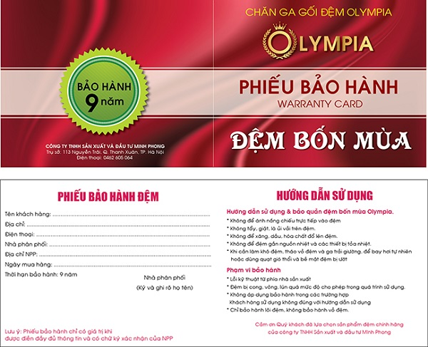 Bảo hành đệm bốn mùa Olympia